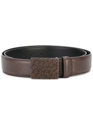 Eleventy Textured Buckle Belt Brown