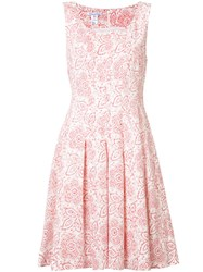 Oscar De La Renta Floral Print Pleated Dress White