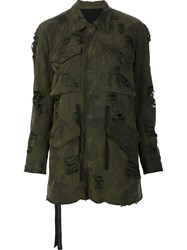 Unravel Frayed Military Jacket Green