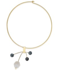 Macy's Gold Tone Beaded Abstract Collar Necklace