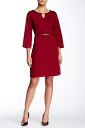 Sharagano Decorated Keyhole Faux Leather Belted Dress Red