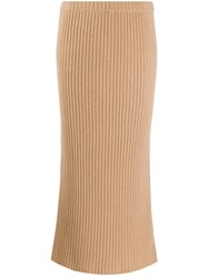 Allude Ribbed Knit Cashmere Skirt 60