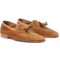 Edward Green Portland Leather Trimmed Suede Tasselled Loafers Tan