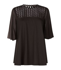 Giambattista Valli Chiffon Sleeve Lace T Shirt Female Black