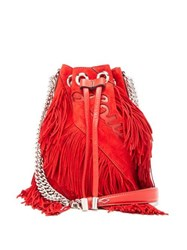 Christian Louboutin Marie Jane Laser Cut Logo Fringed Suede Bucket Bag Red