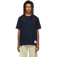 Thom Browne Navy Side Slit Relaxed Fit T Shirt
