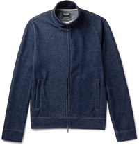 Todd Snyder Cotton Blend Jersey Zip Up Sweatshirt Indigo