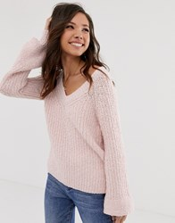 Abercrombie And Fitch Chenille Bell Sleeve Knit Jumper Pink