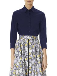 Carolina Herrera Fitted Cotton Blouse Navy