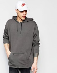 Asos Oversized Longline Hoodie With Zip Pocket And Drawstring Grey