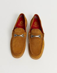 Base London Carriage Loafer In Tan Suede