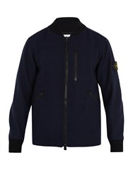 Stone Island Contrast Collar Wool Blend Bomber Jacket Navy