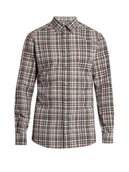 Ermenegildo Zegna Long Sleeved Checked Cotton Shirt Red Multi