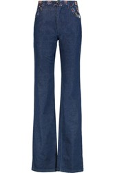 See By Chloe Printed Crepe Paneled High Rise Bootcut Jeans Indigo