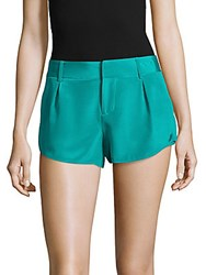 Alice Olivia Butterfly Silk Four Pocket Shorts Turquoise