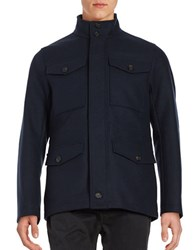 Brooks Brothers Four Pocket Wool Blend Utility Coat Navy