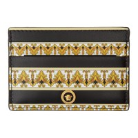 Versace Black And Gold Barocco Card Holder