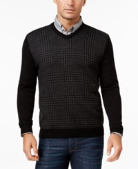 Club Room Men's Big And Tall Merino Wool Houndstooth V Neck Sweater Only At Macy's Deep Black