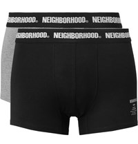 Neighborhood Two Pack Stretch Cotton Blend Boxer Briefs Black