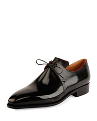 Corthay Arca Calf Leather Derby Shoe With Red Piping Black