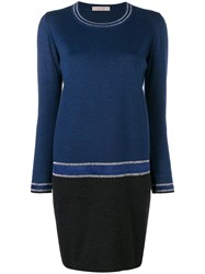 D.Exterior Colour Block Sweater Dress Blue