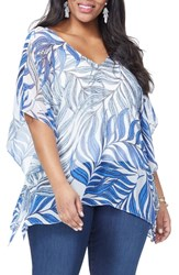 Nydj Plus Size Print Tunic Coastal Palms Wave