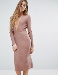 Nytt Long Sleeve Plunge Front Dress In Pink Mauve