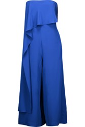 Tibi Cropped Ruffled Silk Jumpsuit Bright Blue