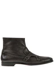 Santoni Leather Monk Strap Ankle Boots Charcoal