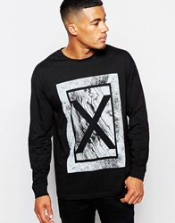 Asos Oversized Long Sleeve T Shirt With Marble Print Black