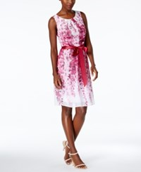 Connected Floral Print A Line Dress White Pink