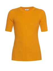 Frame Denim Le Crew Ribbed Cotton Top Yellow
