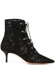 Francesco Russo Lace Kitten Heel Bootie With Lace Up 60