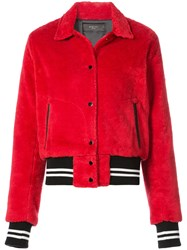 Amiri Faux Shearling Bomber Jacket Cotton Red