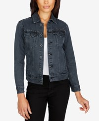 Lucky Brand Studded Denim Jacket Reckless Black