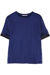 Acne Studios Milda Twill Trimmed Satin Top Navy