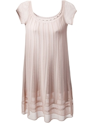 Azzaro Ribbed Detail Shift Dress Pink And Purple