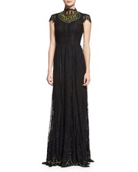 Alice Olivia Arwen Beaded Lace Gown Size 4 Black Multi