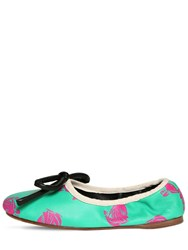 Lanvin 10Mm Printed Leather Ballerina Flats Light Green
