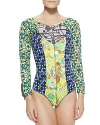 Maaji Mixed Print Long Sleeve One Piece Swimsuit Blue Ribbon