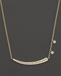 Meira T 14K Yellow Gold Pave Diamond Curved Bar Necklace With 14K White Gold Side Bezels 16