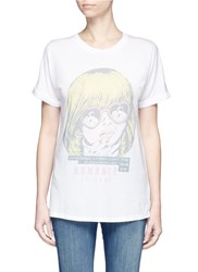 Zoe Karssen 'Romance Is Dead' Print Boyfriend T Shirt White Multi Colour