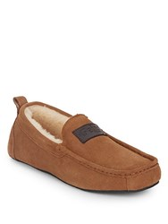 Pajar Gerard Faux Shearling Lined Suede Slippers Brown