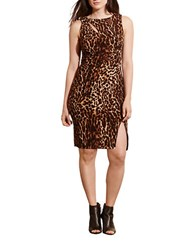 Lauren Ralph Lauren Plus Ocelot Printed Jersey Dress Brown