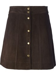 Frame Denim Suede Buttoned Short Skirt Brown