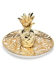 Lilly Pulitzer Swirling Floral Pineapple Ring Holder Gold
