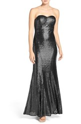 Lulus Women's Strapless Sequin Mermaid Gown Shiny Black
