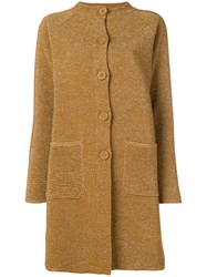 Moschino Ribbed Lurex Band Collar Coat Nude And Neutrals