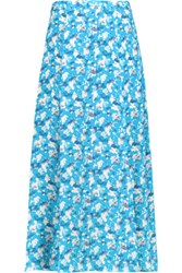 Tanya Taylor Wixson Printed Silk Crepe De Chine Maxi Skirt Light Blue