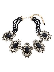 Heidi Daus Multi Strand Pear Shape Pendant Necklace Black
